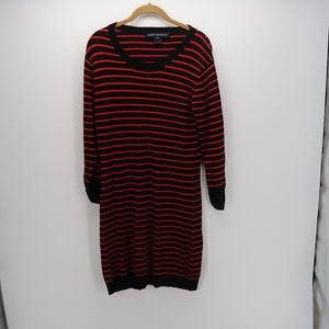 French Connection Striped 3/4 Sleeve Sweater Dress